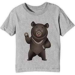 Erido Negro Grande Oso Niños Unisexo Niño Niña Camiseta Cuello Redondo Gris Manga Corta Tamaño S Kids Unisex Boys Girls T-Shirt Grey Small Size S