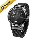 FEICE Uhr Automatik Mechanische Armbanduhren mit Gewölbtes Mineralglas Minimalistische Bauhaus Multifunktions Armbanduhr Herren Uhren - FM202 (Schwarz Edelstahlband)