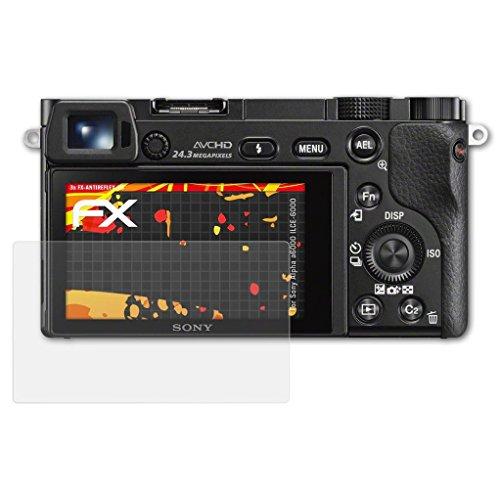 atFoliX Folie für Sony Alpha a6000 (ILCE-6000) Displayschutzfolie - 3 x FX-Antireflex-HD hochauflösende entspiegelnde Schutzfolie
