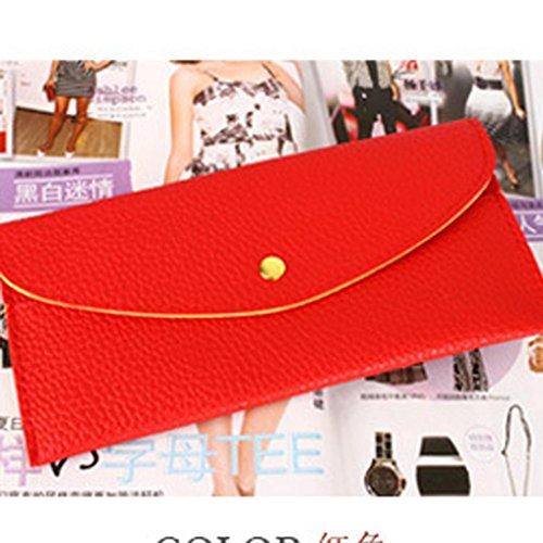 Portafoglio Donna, Tpulling Portafoglio lungo della borsa della borsa della frizione della borsa sottile della signora Donne (pink) Red