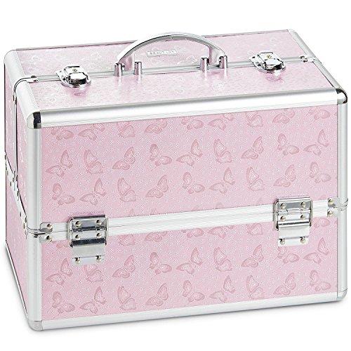 Beautify Grand cosmétique / maquillage coffret à imprimé papillon - Make Up beauty case rose