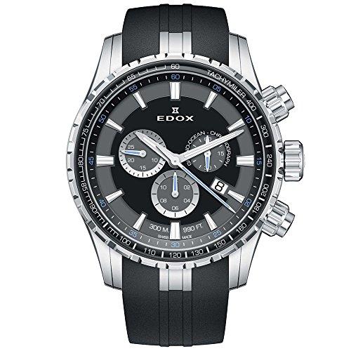 Edox Men's Grand Ocean 45mm Rubber Band Swiss Quartz Watch 10226 3CA NBUN