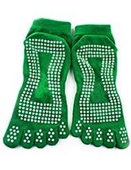 Nouveau Gym Sport exercice de yoga chaussette antidérapant en coton Green