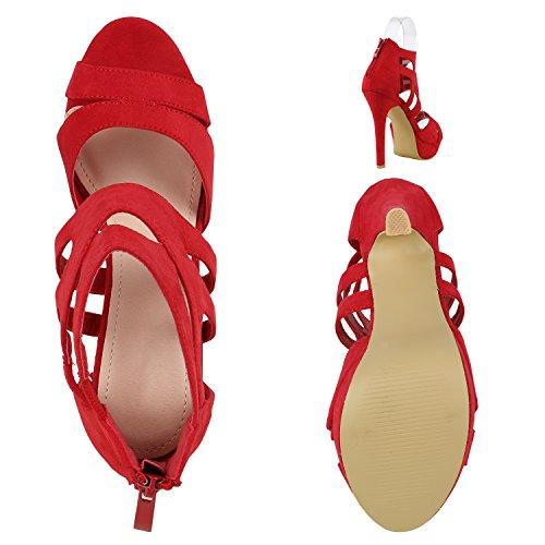 Schicke Damen Sandaletten | Sandalen mit Keilabsatz Veloursleder-Optik | Plateau Sandaletten Bast | Sommer Wedges Fransen Schleifen | Party Abiball Hochzeit Brautschuhe Rot Rot