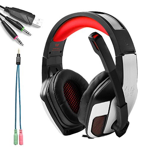 Kotion each g5300 3.5mm cuffie pc gaming cuffia da gioco gamer stereo con stereo led luce regolatore di volume per new xbox uno/ps4/pc/laptop/mac/ipad/ipod(rosso)