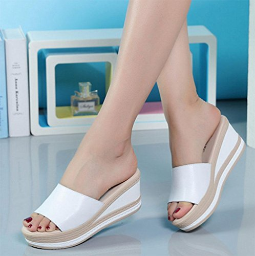Wort-style offene Sandalen beiläufige Schuhe der Frauen bequeme wilde schwerer Boden Schuhe White