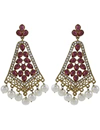 The Jewelbox Filigree Gold Plated American Diamond Pearl Earring For Women