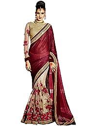 Apnisha Women's Lycra & Net Fabric Embroidered Lace Border Half & Half Saree (Free Size)