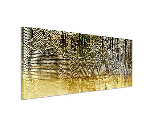 Panoramabild 150x50cm Vintage Mosaik mi Beige, Braun, Blau, Grau, Schwarz und Weiß auf Leinwand exklusives Wandbild moderne Fotografie für ihre Wand in vielen Größen