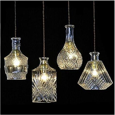 Araña antigua de bronce, lámparas de techo de salón candelabro,creativos nórdicos frasco de cristal tallado araña araña de cristal retro mesa de bar restaurante con tres arañas