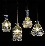 In ottone antico lampadario,luci a soffitto per soggiorno lampadario,Nordic Creative vetro intagliato bottiglia lampadario lampadario di cristallo retrò tavolo bar ristorante con tre lampadari