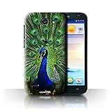 Custodia/Cover Rigide/Prottetiva STUFF4 stampata con il disegno Animali selvatici per Huawei Ascend G730 - Pavone