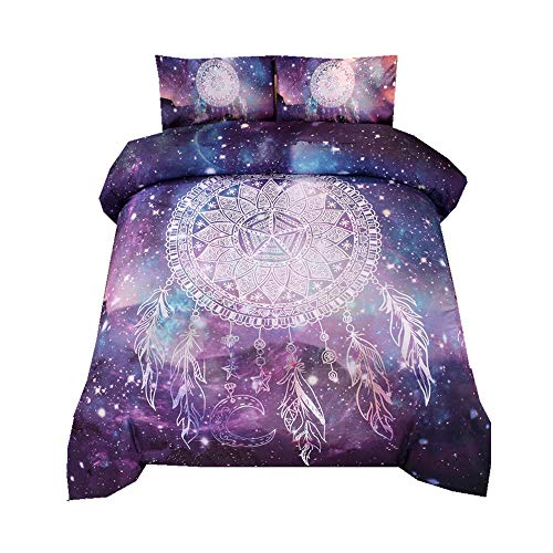Sticker superb Bohemia Indio Flor Atrapasueños Púrpura Azul Negro Mandala Juego de Cama con Funda de Almohada, Misterio Galaxia Estrella Unicornio Animal Funda de Edredón Cama 150cm (Atrapasueños 1)