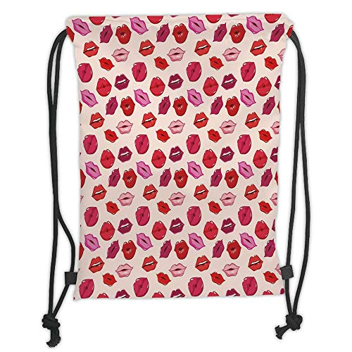 Drawstring Backpacks Bags,Kiss,Vivid Colored Sexy Lips Glamour Fashion Cosmetics Make Up Theme Girls Pattern Decorative,Pink Red Rose Peach Soft Satin,5 Liter Capacity,Adjustable S -