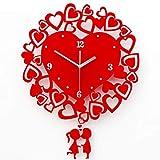 Hong Jie Yuan Orologio delle coppie di modo Bacio Orologio da parete di nozze Soggiorno Arte Moderna cuore rosso orologio al quarzo di fine anno premio regalo da cucina Orologi da parete Battery Opera
