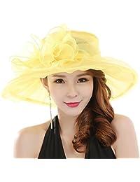 e4c57bdf996 ZHOUBA Elegant Floral Organza Flat Large Wide Brim Gauze Kentucky Derby Cap  Folding Sun hat For
