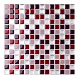 Wandora 4 Stück 25,3 x 25,3 cm Selbstklebende 3D Mosaik Fliesenaufkleber W1437 rot beige Silber