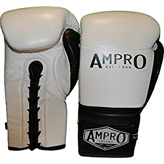 Ampro Madison MKII Lace Up Sparring Gloves - White/Black (14oz)