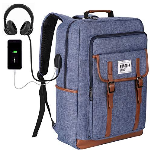 Preisvergleich Produktbild Rucksack Laptop,  KUSOOFA Business Rucksack 17, 3 Zoll mit USB-Ladeanschluss und Kopfhörerbuchse Schulrucksack Laptoprucksack für Herren Jungen Wandern Reisen Camping - Blau