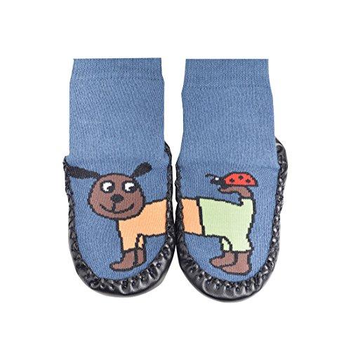 Hüttenschuh-Söckchen,Lustige Tiere''mit Echtem ledersohle Anti-Rutschsohle,für jungen und Mädchen CH-139Ch-139 (34-35, blau hund)