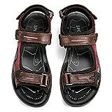 Sandales de Randonnée Femmes, gracosy Chaussures de Sports Été Plates en Cuir à Scratch Réglable Confortable pour Marche Trekking Filles, Marron, 39 EU