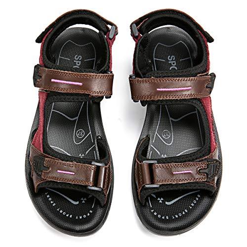 Sandales de Randonnée Femmes, gracosy Chaussures de Sports Été Plates en Cuir à Scratch Réglable Confortable pour Marche Trekking Filles, Marron, 38 EU