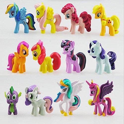 My Little Pony - Set di 12 Personaggi per Torta 5-6 cm, Giocattoli per Bambini, Festa di Compleanno, di Natale Cake Topers