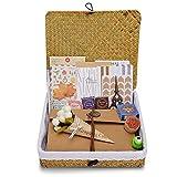 Álbum de fotos con una caja de almacenamiento hecha a mano del libro de recuerdos del ratán el 100%, DIY cumpleaños, álbum de foto de la boda, con el kit de DIY