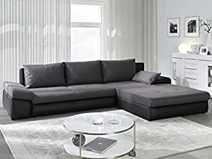 Polsterecke Sofa BONO mit Schlaffunktion Wohnlandschaft Schlafsofa Schlafcouch Kunstleder Webstoff Bettfunktion