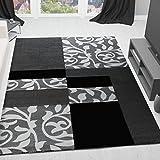 VIMODA Moderner Wohnzimmer Teppich Design mit Blumenmuster Kariert Konturenschnitt in den Farben Braun Grau oder Lila 120x170 cm