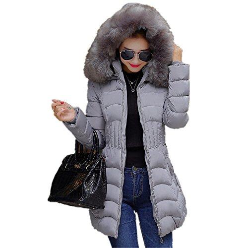 Chaqueta de mujeres, Manadlian Chaqueta larga de moda para mujer de invierno Algodón caliente Desgastar Slim Coat (XL, Gris)