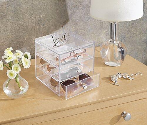 iDesign Clarity Stapelbarer Organizer mit 3 Schubladen für Lesebrillen, Brillen, Sonnenbrillen, durchsichtig