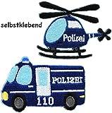 alles-meine.de GmbH 2 Stück _ Bügelbilder / Textil Sticker - Selbstklebend -  Polizei - Fahrzeug ..
