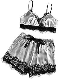 LuckyGirls_ Ropa interior de mujer Conjuntos de Lencería Encaje Sexy Camisones Pijamas Ropa de Dormir Sujetadores