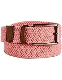 Perry Ellis Men's Webbed Stretch Canvas Leather-Trim Belt Pink 38/95