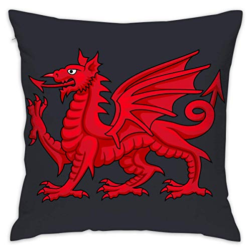 Welsh Dragon Square Throw Pillow Cover Cases for Couch Sofa 18 X 18 Inches (Salbei Couch)