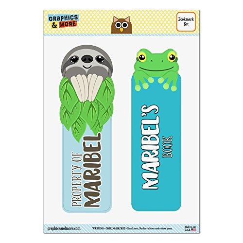 Set von 2glanzfolienkaschiert Faultier und Frosch Lesezeichen–Namen weiblich marg-mari Maribel