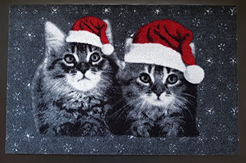 Fußmatte Fußabtreter Fußabstreifer Schmutzmatte Motiv Design Eule Cat Katze Hund Dog OWL (black-Chrismas)