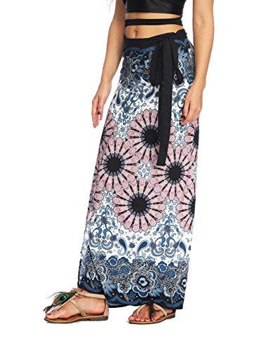 AMOMA Damen Strand Maxi Wickel Röck Indien Hippie Aladdin Style Freizeit Sommer Wickelrock EIN Stück Röck(Free Size,GreyInk)