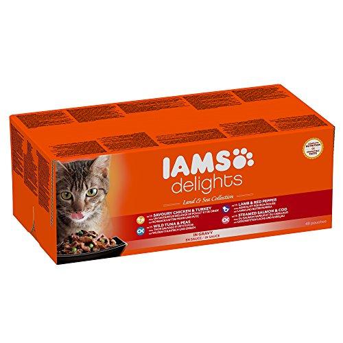 Iams Delights Land and Sea Collection Nassfutter (für erwachsene Katzen mit verschiedenen Fleisch- und Fisch-Sorten in Sauce, Multibox) 48 Frischebeutel (48 x 85 g)