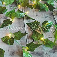 Ivy Fairy Lights String Lights Garland with Lights - 2.5m - Wedding Decorations - AA Battery Powered - Indoor Leaves - Ivy Garland with Lights - Fairy Lights Bedroom Leaf Fairy Lights Leaf Garland