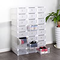 Caja de almacenamiento de plástico con cajones para zapatos, organizador apilable, transparente, plegable, Reino Unido, Large