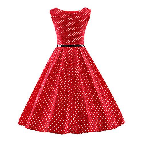 LUOUSE Robe Courte Classique année 50 Vintage Robe de soirée A057-Red