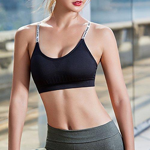 ZHUDJ Lettres Bandoulière Soutien-Gorge De Sport Shock Runner-Up Fitness Girl Mei Style Soutien-Gorge Soutien-Gorge De Formation De Yoga Retour M
