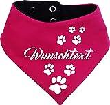 KLEINER FRATZ beidseitiges Multicolor Hunde Wende- Halstuch (Fb: pink-Navy) (Gr.3 - HU 36-42 cm) mit Ihrem Wunschtext
