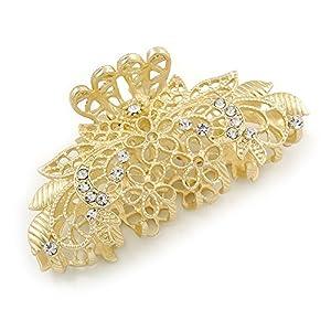 Avalaya Haarklammer/Haarspange, mit klaren Kristallen besetzt, florales Design, filigran, Goldfarben, matt, mittelgroß, 75 mm breit