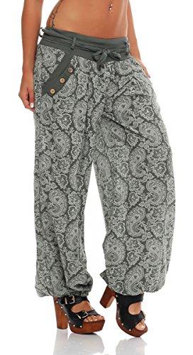 malito Damen Pumphose mit Orient Print | leichte Stoffhose | Freizeithose für den Strand | Haremshose �?luftig 3488 Oliv