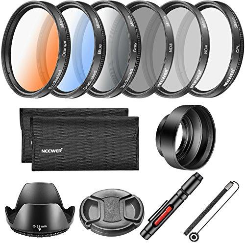 Neewer 58MM Objektiv-Filter und Zubehör-Set, beinhaltet: CPL ND4 ND8 Filter, Abgestufte Farbfilter, Tulpen Objektiv Haube, Faltbare Gummi,  Objektiv Kappe, Kappen Halter, Filtertasche