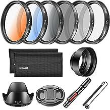 Neewer Kit Filtro de lente de 58mm y accesorio, incluye: Filtro CPL ND4 ND8, filtro graduado de Color, parasol tulipán, tapa goma plegable, tapa encargado titular, pluma de tela limpieza, filtro de bolsa