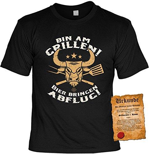 Grill/Spaß/Fun-Shirt inkl. Spaß-Urkunde/lustige Sprüche: Bin am Grillen! Bier bringen Abflug! tolle Geschenkidee Schwarz